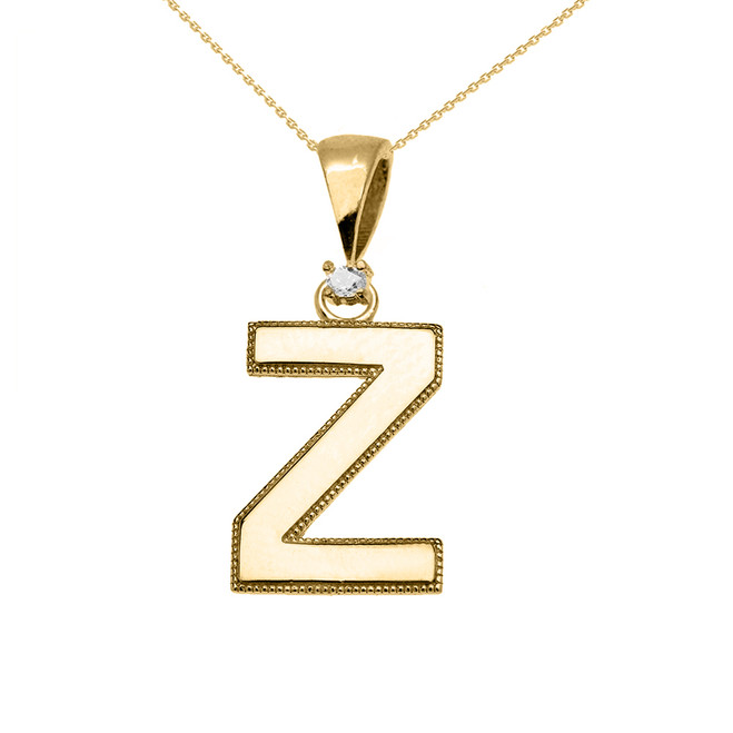 "Yellow Gold High Polish Milgrain Solitaire Diamond ""Z"" Initial Pendant Necklace"