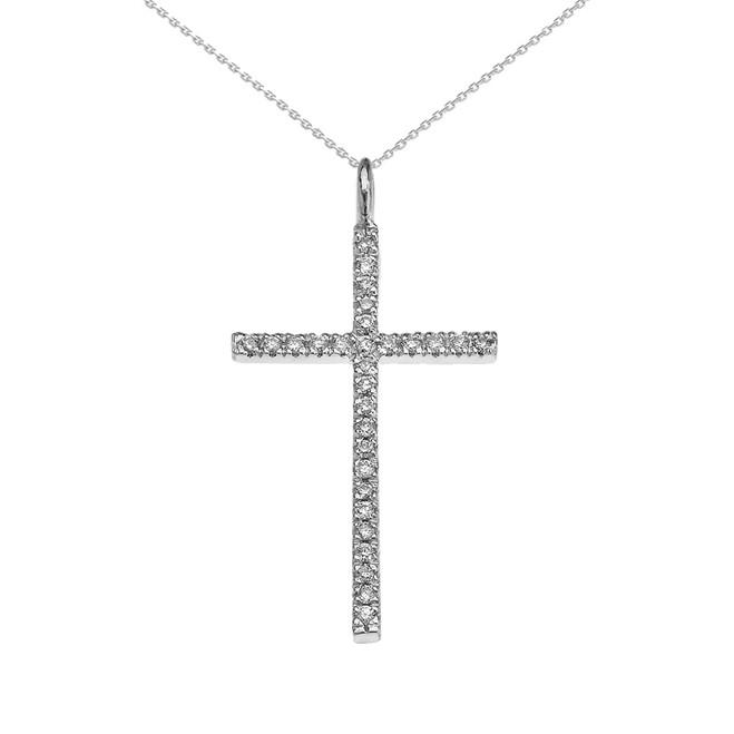 White Gold Dainty Diamond Cross Pendant Necklace