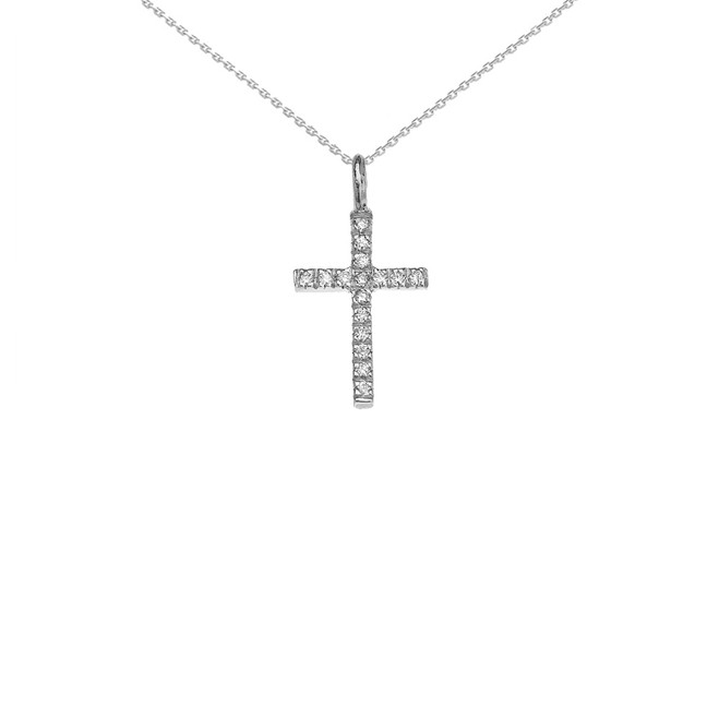 White Gold Diamond Cross Charm Pendant Necklace