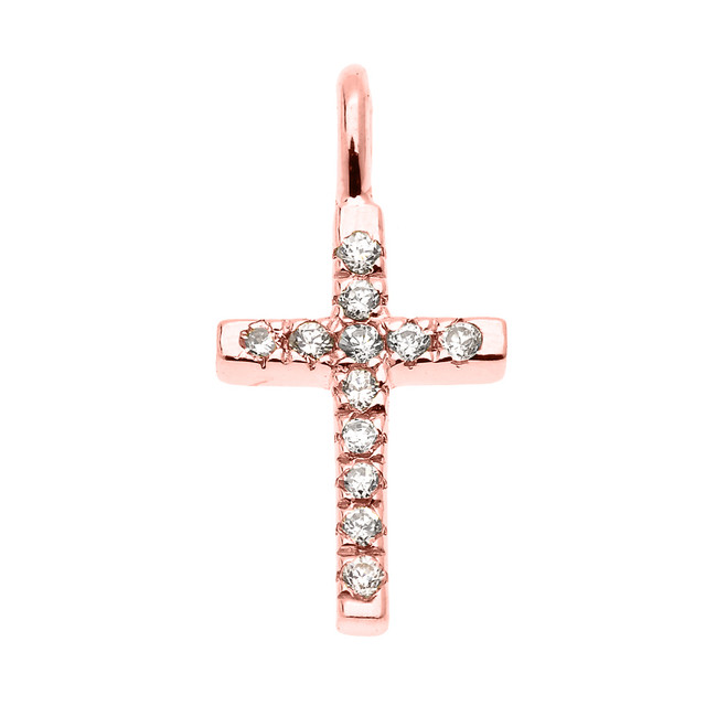 Dainty Rose Gold Cubic Zirconia Cross Charm Pendant Necklace