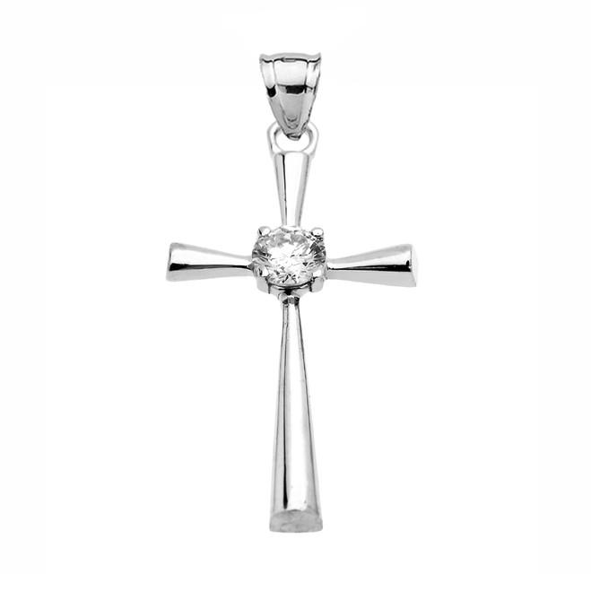 Beautiful White Gold Solitaire Diamond Cross Dainty Pendant Necklace