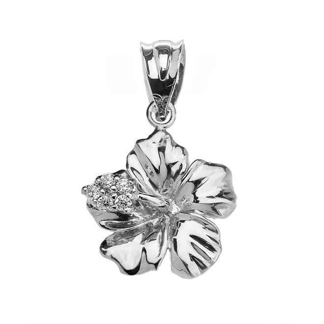 White Gold Caribbean Hibiscus (Malvaceae) Dainty Diamond Pendant Necklace