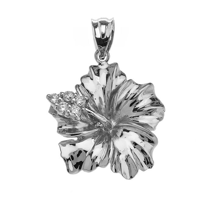 White Gold Caribbean Hibiscus (Malvaceae) Diamond Pendant Necklace
