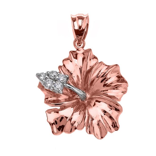 Rose Gold Caribbean Hibiscus (Malvaceae) Diamond Pendant Necklace