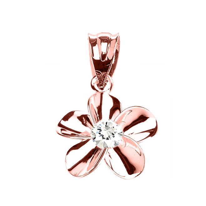 Rose Gold Hawaiian Plumeria Cubic Zirconia Elegant Pendant Necklace