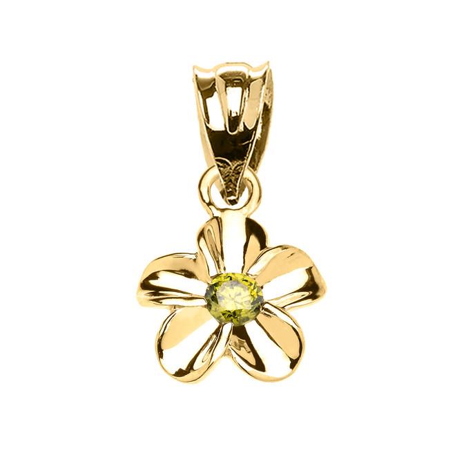 Delicate Yellow Gold Hawaiian Plumeria Peridot Charm Pendant Necklace