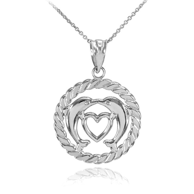 White Gold Heart Kissing Dolphins in Circle Rope Pendant Necklace