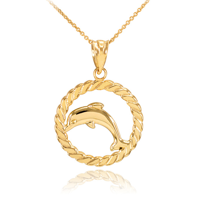 Gold Jumping Dolphin in Circle Rope Pendant Necklace