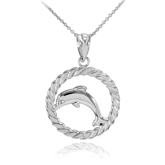 Silver Jumping Dolphin in Circle Rope Pendant Necklace