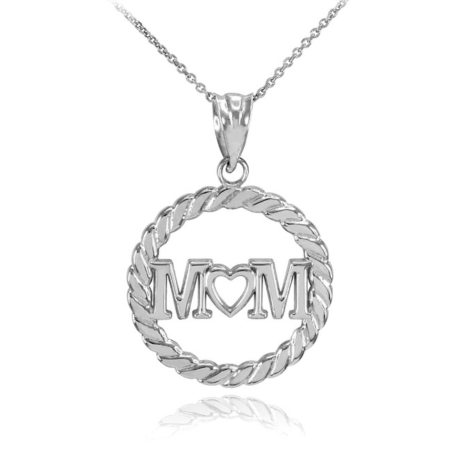 White Gold MOM Heart in Circle Rope Pendant Necklace