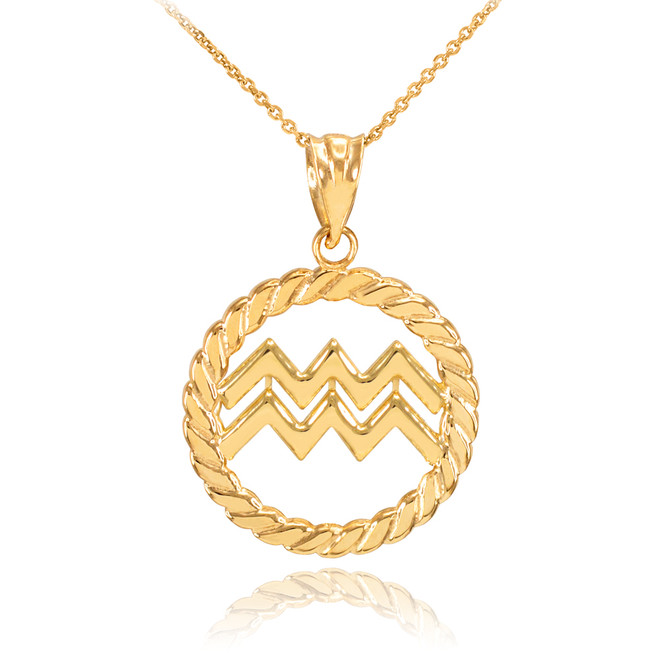Gold Aquarius Zodiac Sign in Circle Rope Pendant Necklace