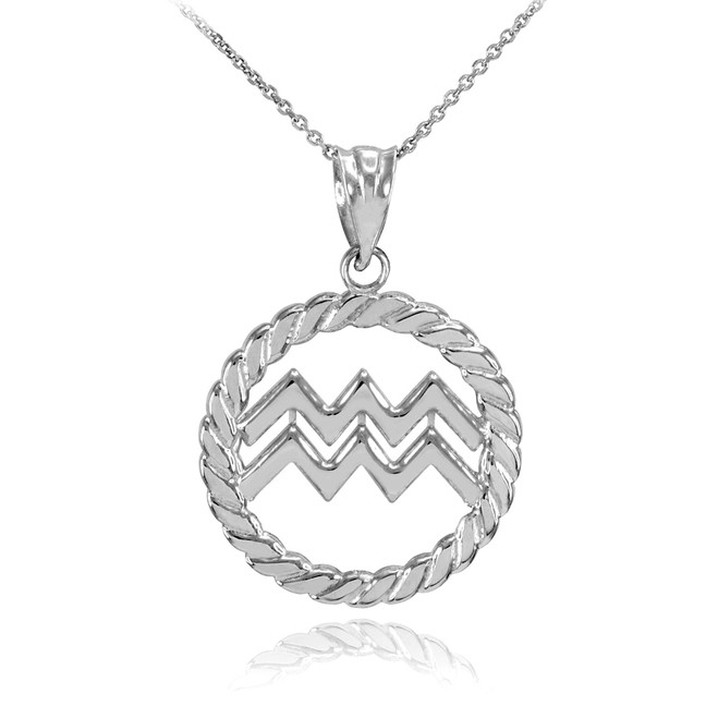 Sterling Silver Aquarius Zodiac Sign in Circle Rope Pendant Necklace