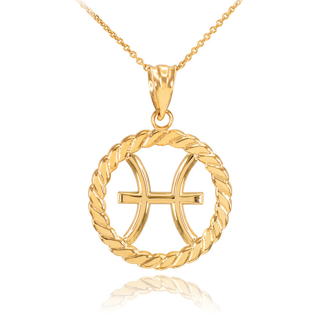 Gold Pisces Zodiac Sign in Circle Rope Pendant Necklace