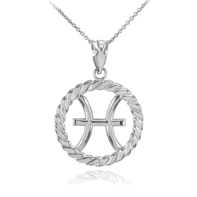 White Gold Pisces Zodiac Sign in Circle Rope Pendant Necklace