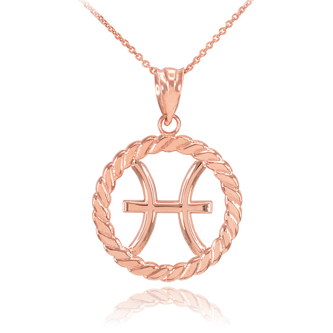 Rose Gold Pisces Zodiac Sign in Circle Rope Pendant Necklace