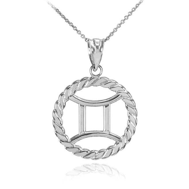 White Gold Gemini Zodiac Sign in Circle Rope Pendant Necklace