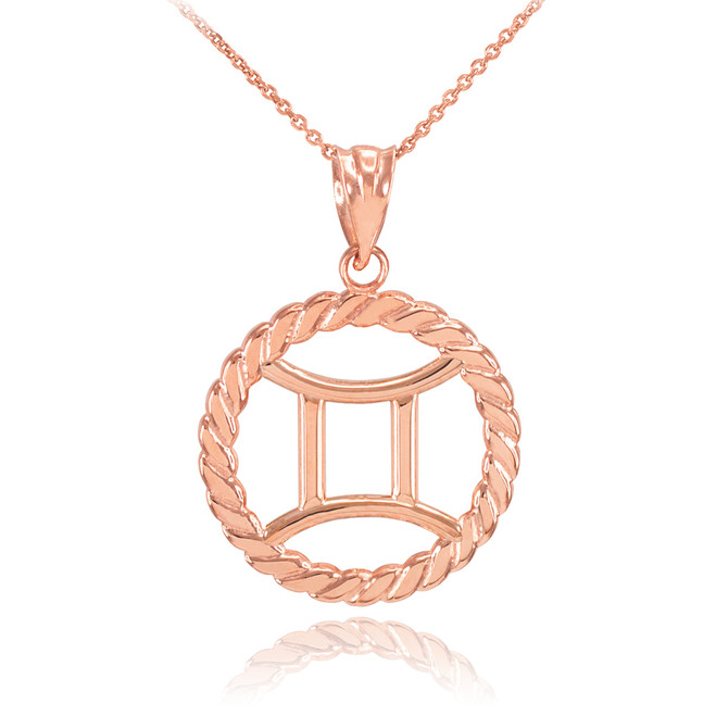 Rose Gold Gemini Zodiac Sign in Circle Rope Pendant Necklace