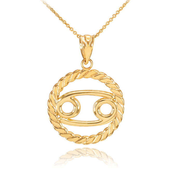 Gold Cancer Zodiac Sign in Circle Rope Pendant Necklace