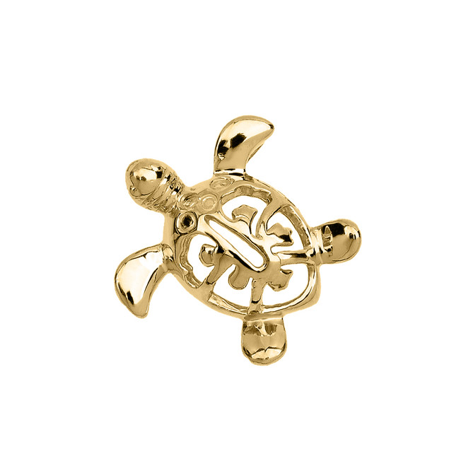 Yellow Gold Hawaiian Lucky Charm Honu Turtle Hidden Bail Pendant Necklace