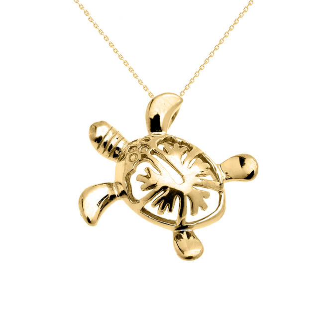 Yellow Gold Hawaiian Honu Turtle Hidden Bail Pendant Necklace