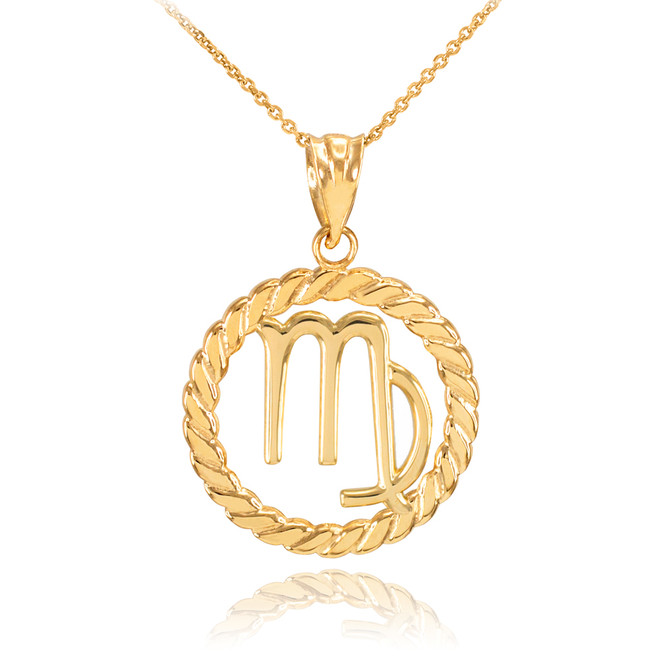 Gold Virgo Zodiac Sign in Circle Rope Pendant Necklace