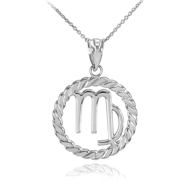 White Gold Virgo Zodiac Sign in Circle Rope Pendant Necklace