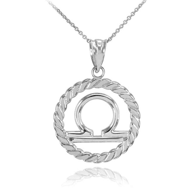 White Gold Libra Zodiac Sign in Circle Rope Pendant Necklace