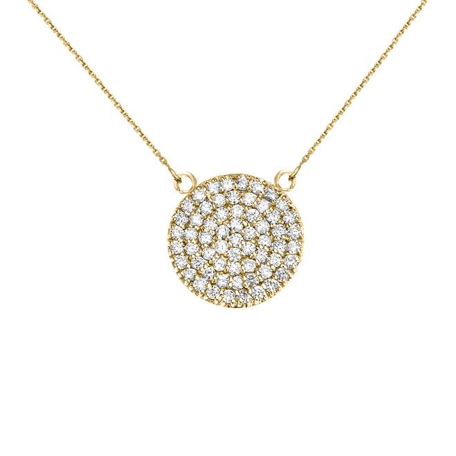 14k Yellow Gold 0.5 Carat Diamond Micro-pave Circle (21 mm) Necklace