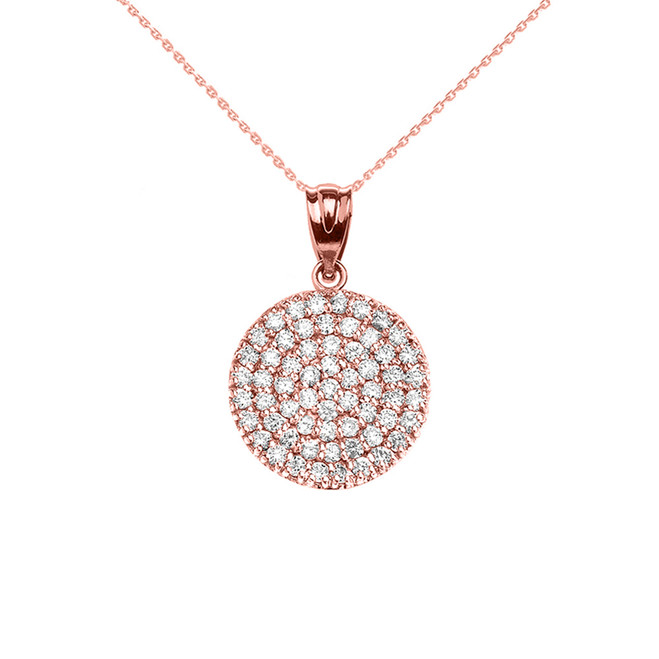 Micro-Pave Diamond Circle Pendant Necklace in 14K Rose Gold