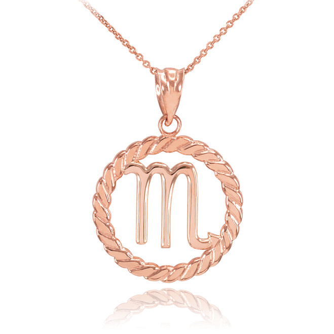 Rose Gold Scorpio Zodiac Sign in Circle Rope Pendant Necklace