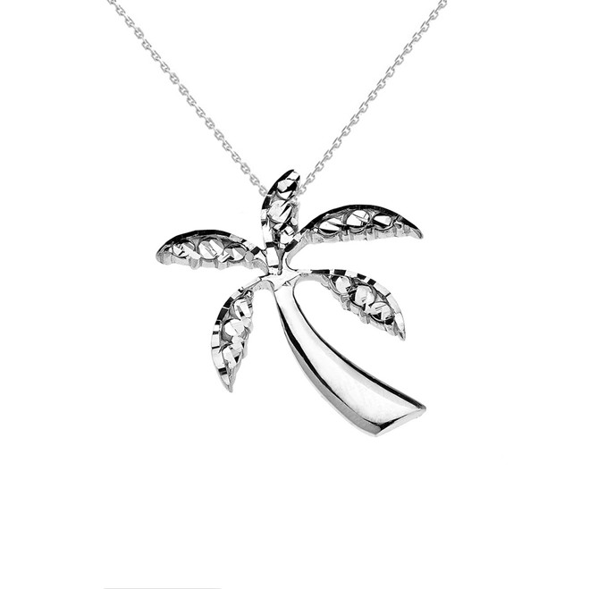 Sterling Silver California Exotic Palm Tree Pendant Necklace