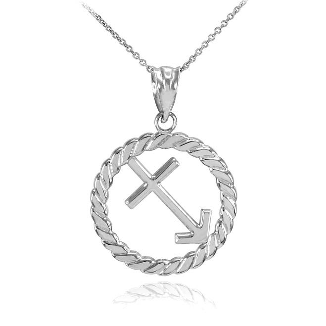 White Gold Sagittarius Zodiac Sign in Circle Rope Pendant Necklace
