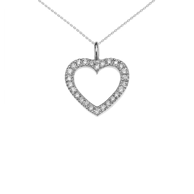 14k White Gold Open Heart  Diamond Dainty Pendant Necklace