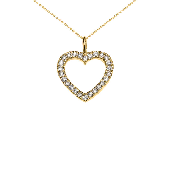 14k Yellow Gold Open Heart  Diamond Dainty Pendant Necklace