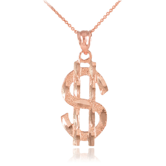 Rose Gold Dollar Sign Pendant Necklace