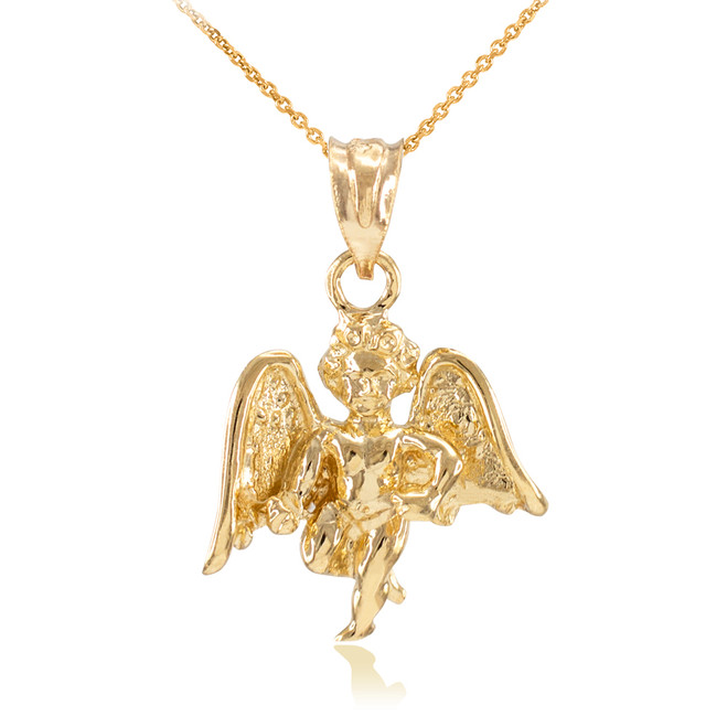 Solid Gold Guardian Angel Pendant Necklace