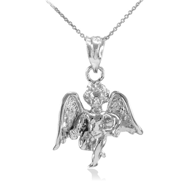 Solid White Gold Angel Pendant Necklace