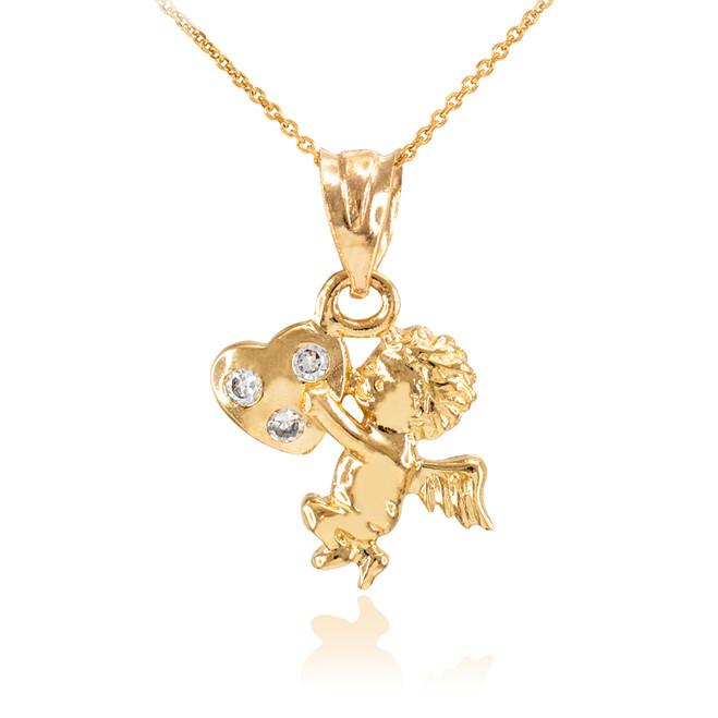 Gold CZ Studded Angel Cherub Charm Pendant Necklace