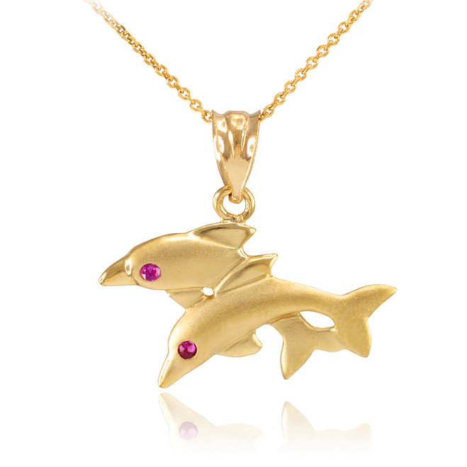 Yellow Gold Red CZ Jumping Double Dolphin Pendant Necklace
