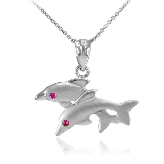 Sterling Silver Red CZ Jumping Double Dolphin Pendant Necklace