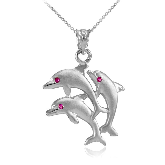 White Gold Red CZ Jumping Triple Dolphin Pendant Necklace