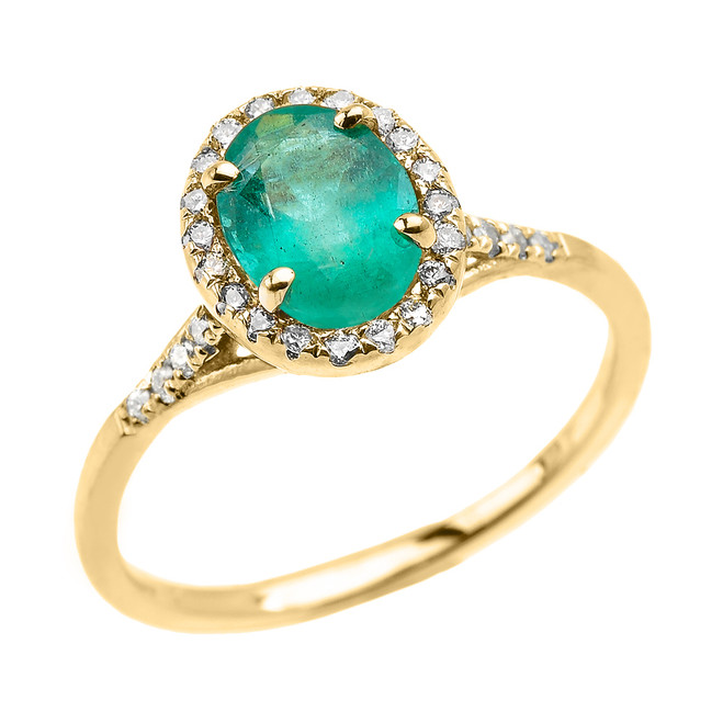 Yellow Gold Halo Solitaire Zambian Emerald and Diamond Proposal Ring