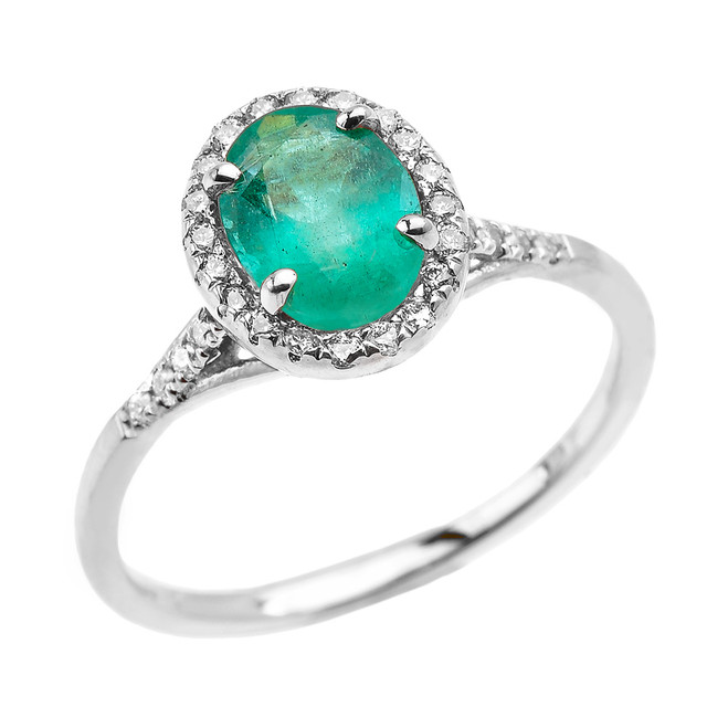 White Gold Halo Solitaire Zambian Emerald and Diamond Proposal Ring