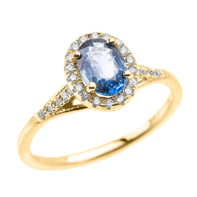 Yellow Gold Halo Solitaire Kanchanaburi Sapphire and Diamond Proposal Ring