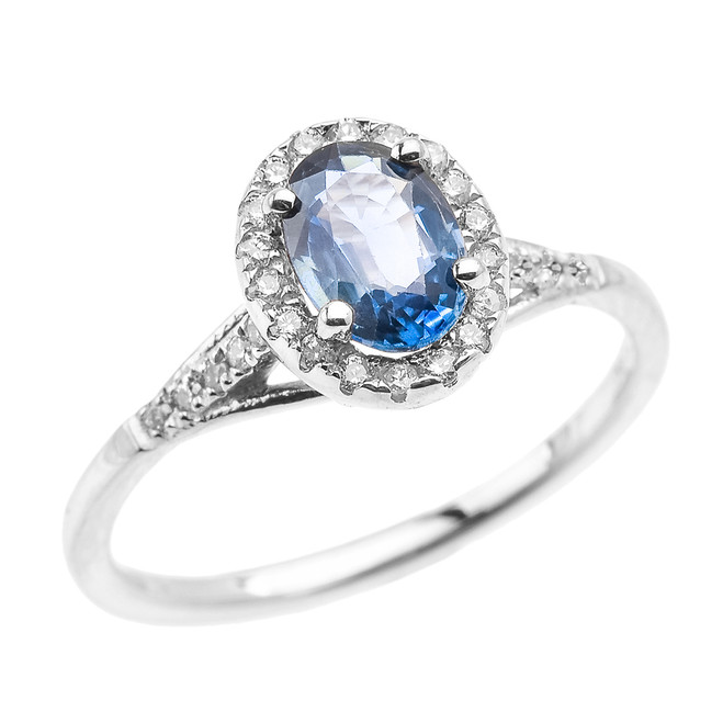 White Gold Halo Solitaire Kanchanaburi Sapphire Proposal Ring