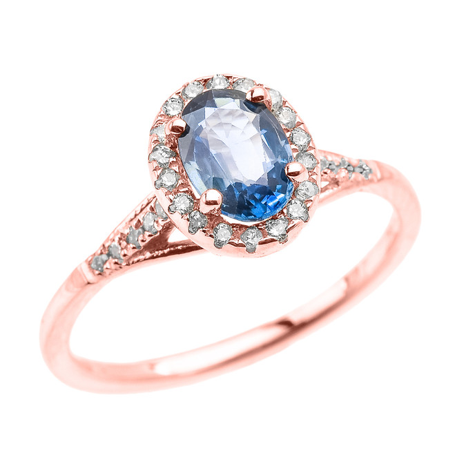 Rose Gold Halo Solitaire Kanchanaburi Sapphire and Diamond Proposal Ring