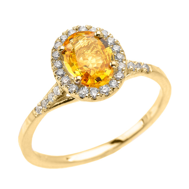 Yellow Gold Halo Solitaire Yellow Sapphire and Diamond Proposal Ring