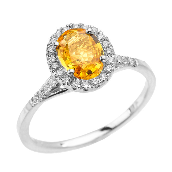 White Gold Halo Solitaire Yellow Sapphire and Diamond Proposal Ring