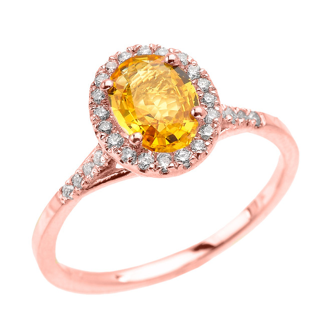 Rose Gold Halo Solitaire Yellow Sapphire and Diamond Proposal Ring