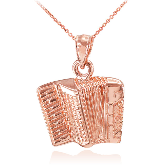 Solid Rose Gold Music Accordion Pendant Necklace